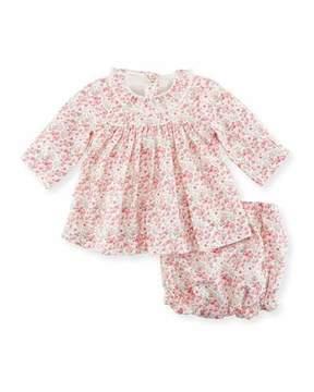 Petit Bateau Floral-Print Dress w/ Bloomers, Size 1-18 Months