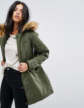 Alpha Industries Explorer Parka Coat with Faux Fur Hood