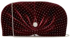 Jimmy Choo Vivien Embellished Velvet Clutch Bag - Womens - Burgundy Silver