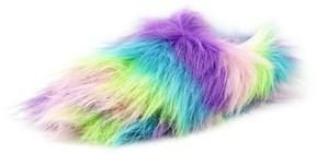 Betsey Johnson Splash Women Round Toe Faux Fur Multi Color Slipper.