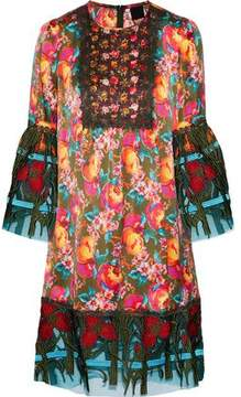Anna Sui Embroidered Tulle-Paneled Printed Silk-Blend Dress