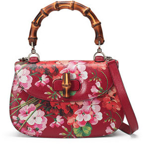 Gucci Bamboo Classic Blooms Small Top-Handle Bag, Red - RED WITH BLOOMS - STYLE