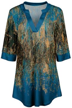 Azalea Blue & Beige Abstract V-Neck Tunic - Women & Plus