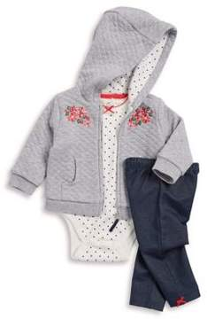 Little Me Baby Boy's Three-Piece Hooded Diamond Sweatshirt, Cotton Bodysuit and Pants