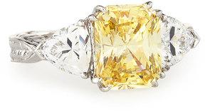 FANTASIA Emerald-Cut Canary & Clear Trillion-Cut CZ Crystal Ring