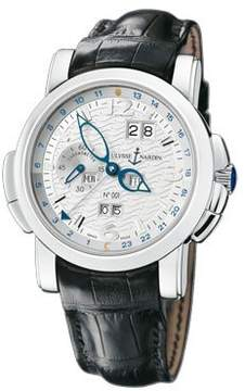 Ulysse Nardin GMT Perpetual White Guilloche Dial Leather Strap Automatic Men's Watch