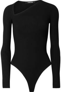 Cushnie et Ochs Vivian Ribbed-knit Thong Bodysuit - Black