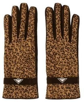 Bottega Veneta Leopard Printed Logo Gloves