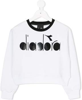 Diadora Junior logo printed cropped sweatshirt