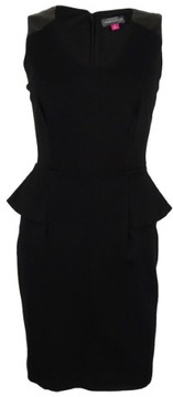 Vince Camuto Women's V-Neck Peplum Dress (0, Rich Black)