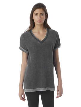 Alternative Apparel Co-ed Burnout French Terry Deep V T-Shirt