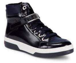 Love Moschino High-Top Leather Logo Sneakers
