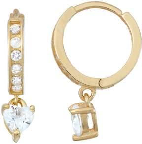 Junior Jewels Kids' 14k Gold Over Silver Cubic Zirconia Heart Hoop Drop Earrings