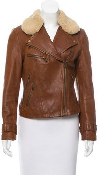 Andrew Marc Shearling-Trimmed Leather Jacket