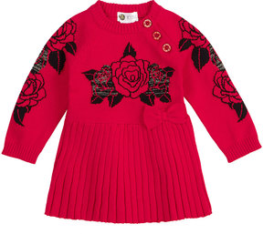 Petit Lem Rose Intarsia Sweater Dress, Size 3-24 Months