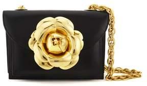 Oscar de la Renta Black Gold Leather Tro Bag