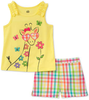 Kids Headquarters Baby Girls 2-Pc. Giraffe Top & Plaid Shorts