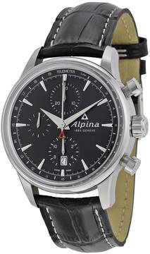 Alpina Alpiner Chronograph Automatic Black Dial Black Leather Men's Watch