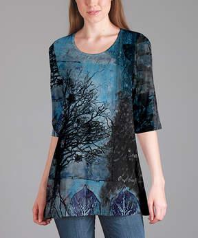 Lily Blue & Black Tree Tunic - Women