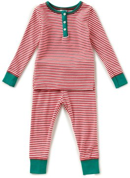 Starting Out Little Boys 2T-4T Christmas Striped Henley Top & Pants Pajama Set
