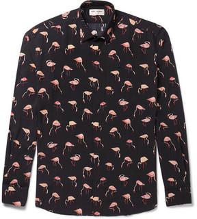 Saint Laurent Flamingo-Print Voile Shirt