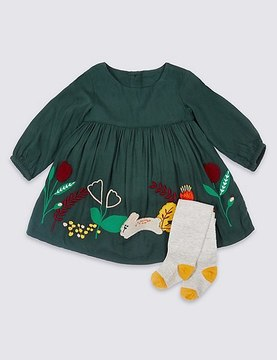 Marks and Spencer 2 Piece Applique Baby Dress with Tights