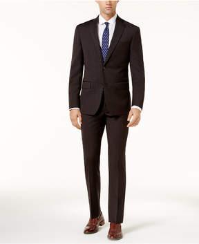 DKNY Men's Slim-Fit Charcoal Textured Suit
