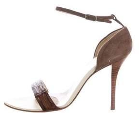 Helmut Lang Embossed Ankle Strap Sandals