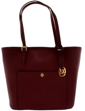 Michael Kors Women's Large Jet Set Snap Pocket Bag Leather Top-Handle Tote - Plum - PLUM - STYLE