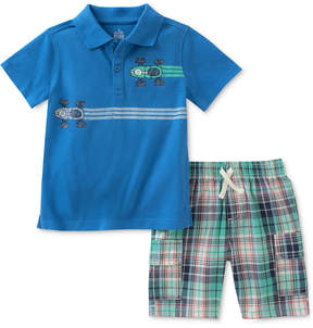 Kids Headquarters 2-Pc. Race Car Cotton Polo Shirt & Plaid Shorts Set, Little Boys