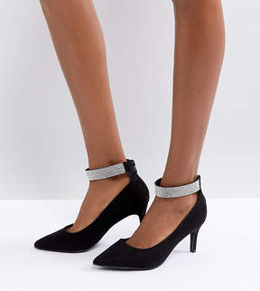 New Look Wide Fit Point Gem Ankle Strap Court