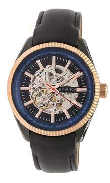 Heritor Desmond Black Skeleton Dial Black Padded Leather Strap Automatic Men's Watch