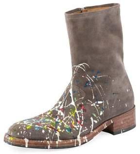 Maison Margiela Tall Splatter Paint Suede Boot, Gray Pattern