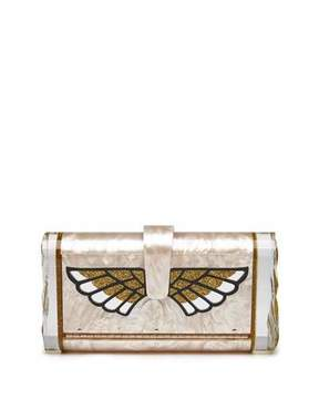 Edie Parker Lara Wings Acrylic Clutch Bag, Nude