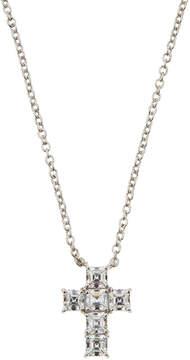 FANTASIA Asscher-Cut CZ Crystal Cross Pendant Necklace