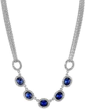1928 Blue Oval Halo Multi Strand Necklace