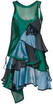 Sacai ruffled patchwork dress