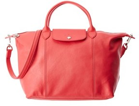 Longchamp Le Pliage Cuir Medium Leather Top Handle. - PEONY - STYLE