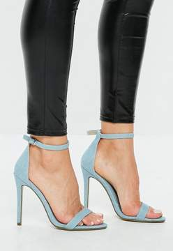 Missguided Blue Flat Strap Barely There Heeled Sandal