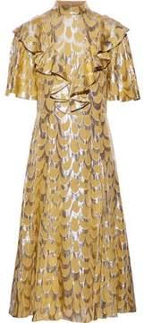 Temperley London Rider Ruffled Fil Coupé Silk-Blend Chiffon Dress