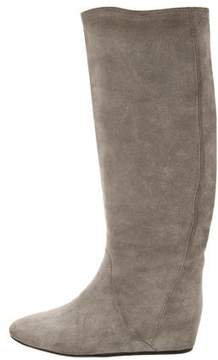 Lanvin Suede Round-Toe Boots