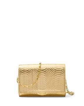 Michael Kors Yasmeen Small Metallic Snakeskin Clutch Bag - BLACK/GOLD - STYLE