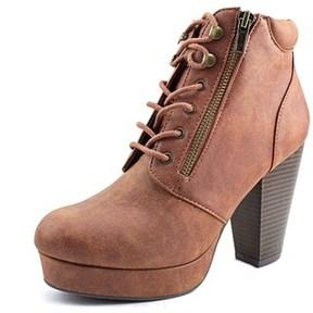Material Girl Womens Rheta Closed Toe Ankle Fashion Boots, Cognac, Size 7.0.