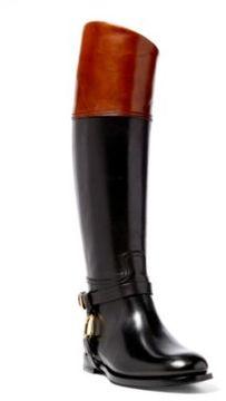Ralph Lauren Sade Burnished Calfskin Boot Black/Tan 9