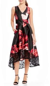 Sangria Floral Lace Trim Hi Lo Dress