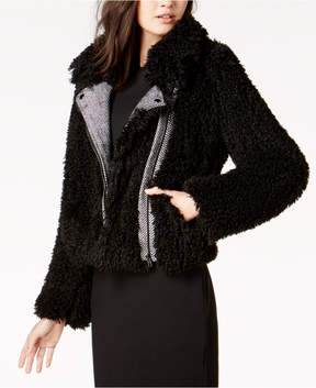 Bar III Faux-Sherpa Moto Jacket, Created for Macy's