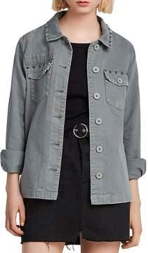AllSaints Studded Distressed Denim Shirt