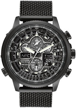Citizen Eco-Drive Navihawk A-T Mens Mesh Strap Chronograph Watch JY8037-50E