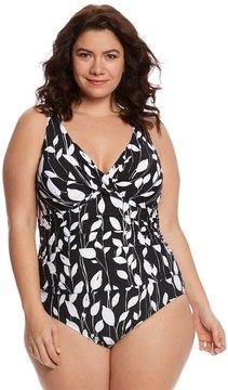 Anne Cole Signature Plus Size Mesh Cross Over One Piece Swimsuit 8151768