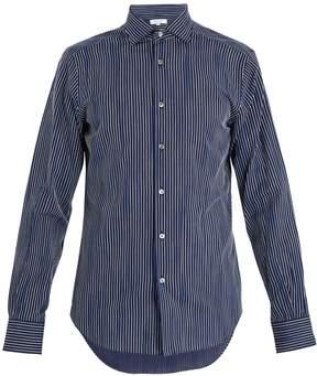 Boglioli Spread-collar pinstriped cotton shirt